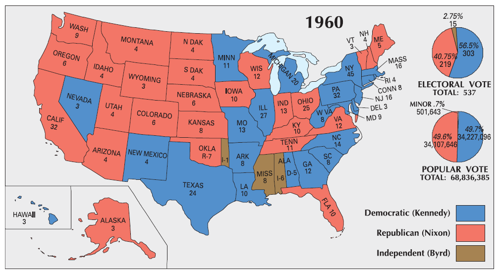 Election Maps The Periodic Table Of The Presidents - Us election 1960 map