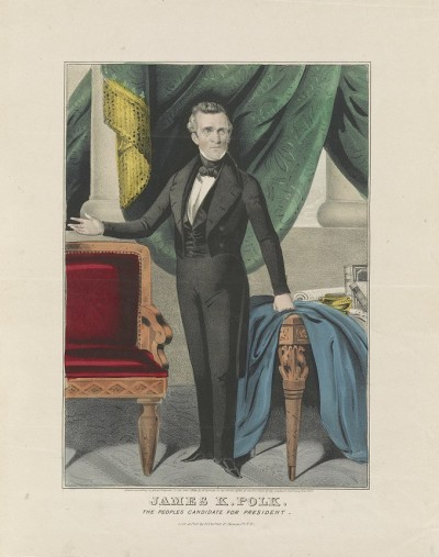 James K. Polk, The Peoples Candidate for President, hand-colored lithograph by N. Currier, c.1844 LOC