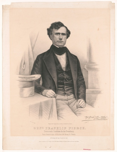 Franklin Pierce, Gen. Franklin Pierce - Democratic Candidate for the Presidency, print published by Wagner _ McGuigan's c. 1840s