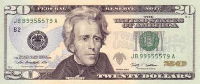 20 Dollar Bill Front