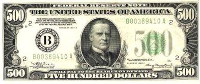 500 Dollar Bill Front